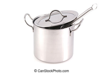 Stainless pan. - A stainless pan isolated on a white...