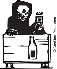 Death and Wine - Woodcut style image of the skeleton death...