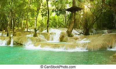 Kouang Si Waterfall, Laos, Luang Prabang Look with panning -...