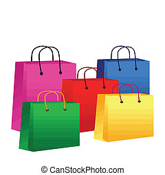 Colorful shopping bags on white background, vector...