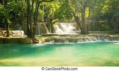 Kouang Si Waterfall, Laos, Luang Prabang Water flows through...