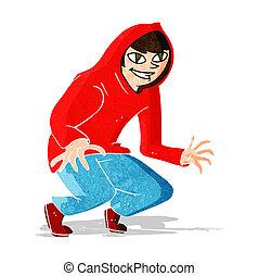 cartoon mischievous boy in hooded top