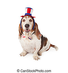 Basset Hound Wearing Patriotic Hat and Tie - A cute Basset...