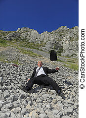 Businessman in a difficult situation - Image of a...