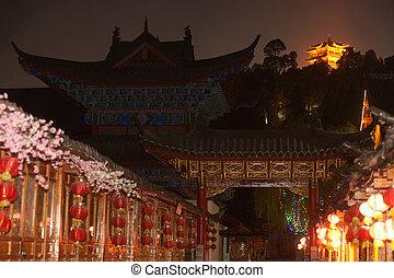 Historical Lijiang Dayan old town at night.