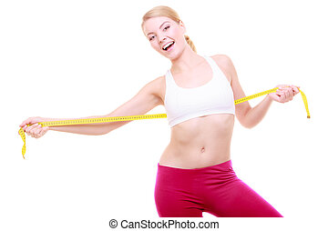 Diet. Fitness woman fit girl with measure tape isolated