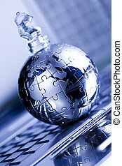 Notebook & puzzle earth globe - Planet earth from puzzle