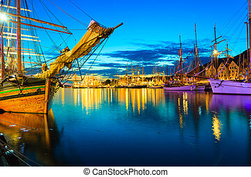 Sailing ships in harbor during the tall ships races -...