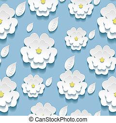 Seamless pattern with 3d white sakura - Beautiful background...