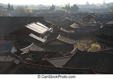 Roofs of ancient historical Lijiang Dayan old town