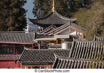 Top view of historic town of Lijiang Dayan Old Town.