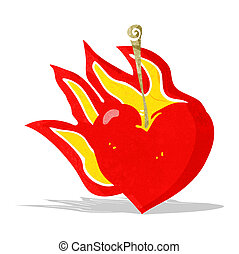 cartoon flaming heart cherry