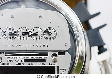 Electric Meter - Close-up of an electric meter with lock in...