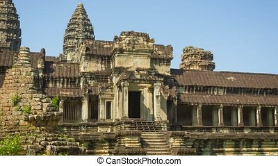 Ruins of ancient temple in Cambodia Angkor Wat - Video 1080p...