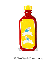 cartoon old bottle of pills
