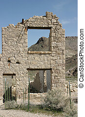 Ruins of Rhyolite, CA - The ghost town of Rhyolite, CA,...