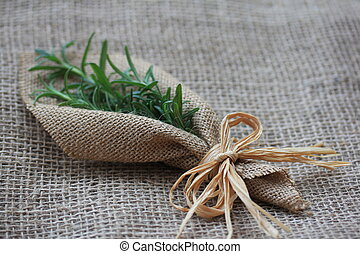 Rosemary and Raffia - Sprigs of fresh rosemary inside swatch...
