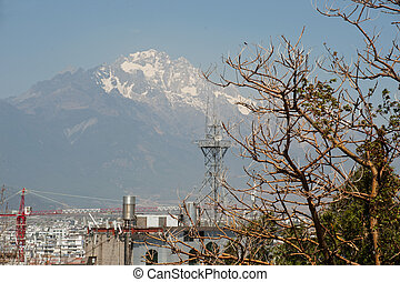 View of Jade Dragon Snow Mountain from Lijiang new town.