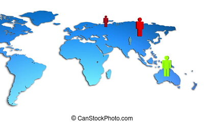 World Map Colorful Diverse People G - Animation of a world...