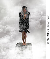 Angel In The Clouds - Angel standing on a rock with wings...