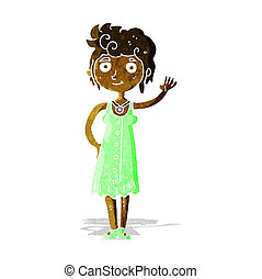 cartoon hippie woman waving