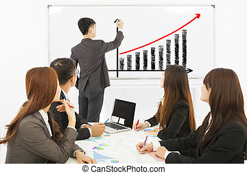 group of business people discussing sales on whiteboard