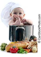 Baby in a Chef Pot on White Background. Image is Soft