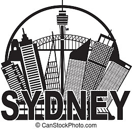 Sydney Australia Skyline Circle Black and White Illustration
