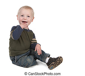 Bright Happy Young Toddler Smiling on White Background