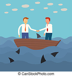 two business man shaking hand on small boat with shark in the se