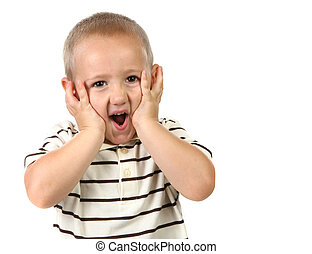 Shocked and Surprised Young Child on White Background