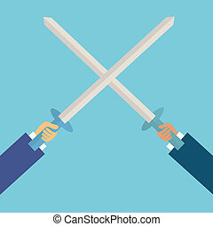 two business man fighting with sword,business...