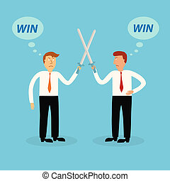 two business man fighting and thinking to winner,business...