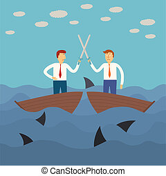 two business man fighting on small boat with shark in the...
