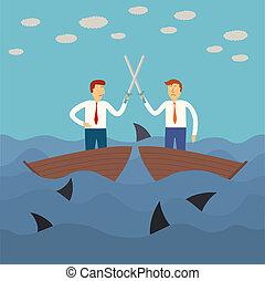 dois, negócio, homem, luta, pequeno, bote,...