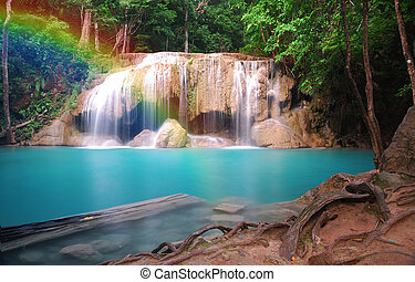 Erawan Waterfall - erawan waterfall in Kanchanaburi,Thialand