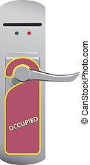 Warning on the door knob Occupied. Vector illustration.