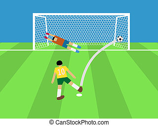 football player shooting soccer ball to goal,...