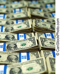 Bundles of US One Dollar Bills - Hundred dollar bundles of...