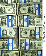Bundles of U.S. One Dollar Bills - Hundred dollar bundles of...