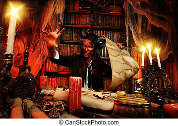 candles - Horned Devil in his home Fantasy Ancient style...