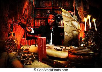horned devil - Horned Devil in his home Fantasy Ancient...