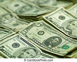 Bundles of US Five Dollar Bills - Bundles of US Five Dollar...