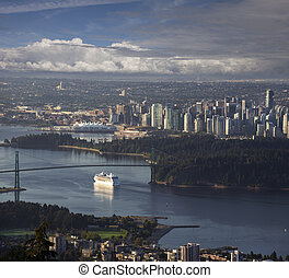 Vancouver - Cruise ship ariving in Vancouver