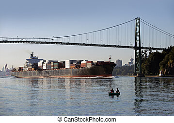 Vancouver - sea fishing by Lions Gate Bridge