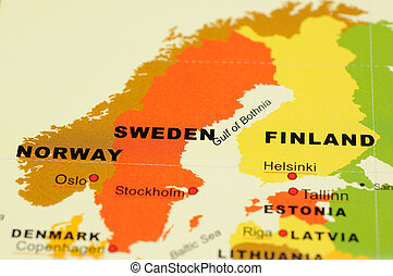 Norway, Sweden and Finland on map - Close up of Norway,...