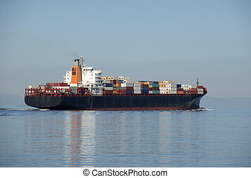 Ship with containers, sea transportation