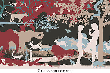 Garden of Eden - Editable vector silhouettes of Adam and Eve...