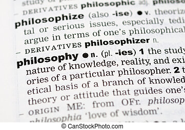 Dictionary definition of philosophy - A close up of the word...