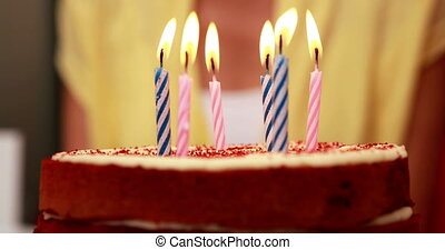 Six candles on a birthday cake